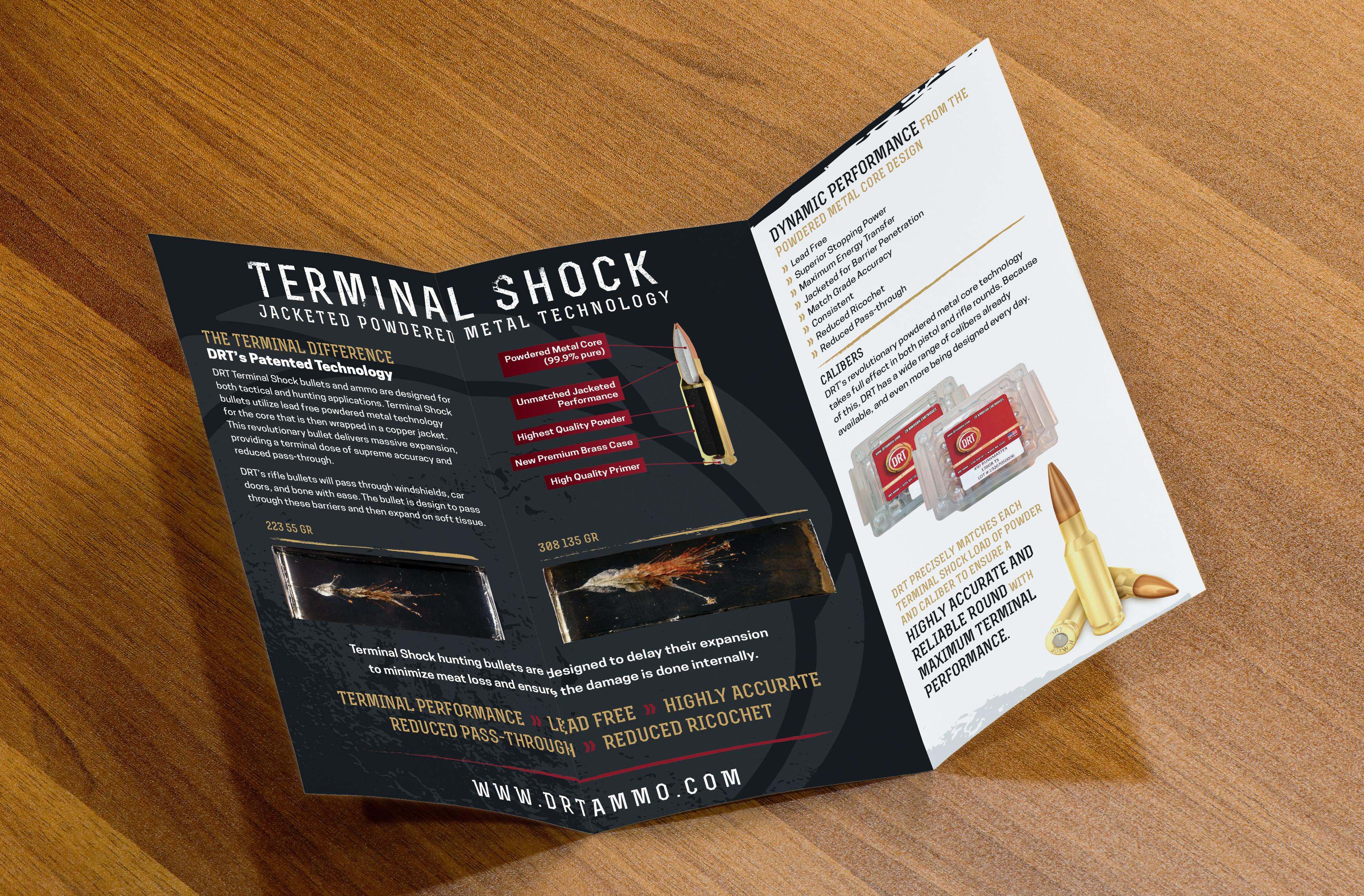 DRT ammunition tri-fold brochure: inside