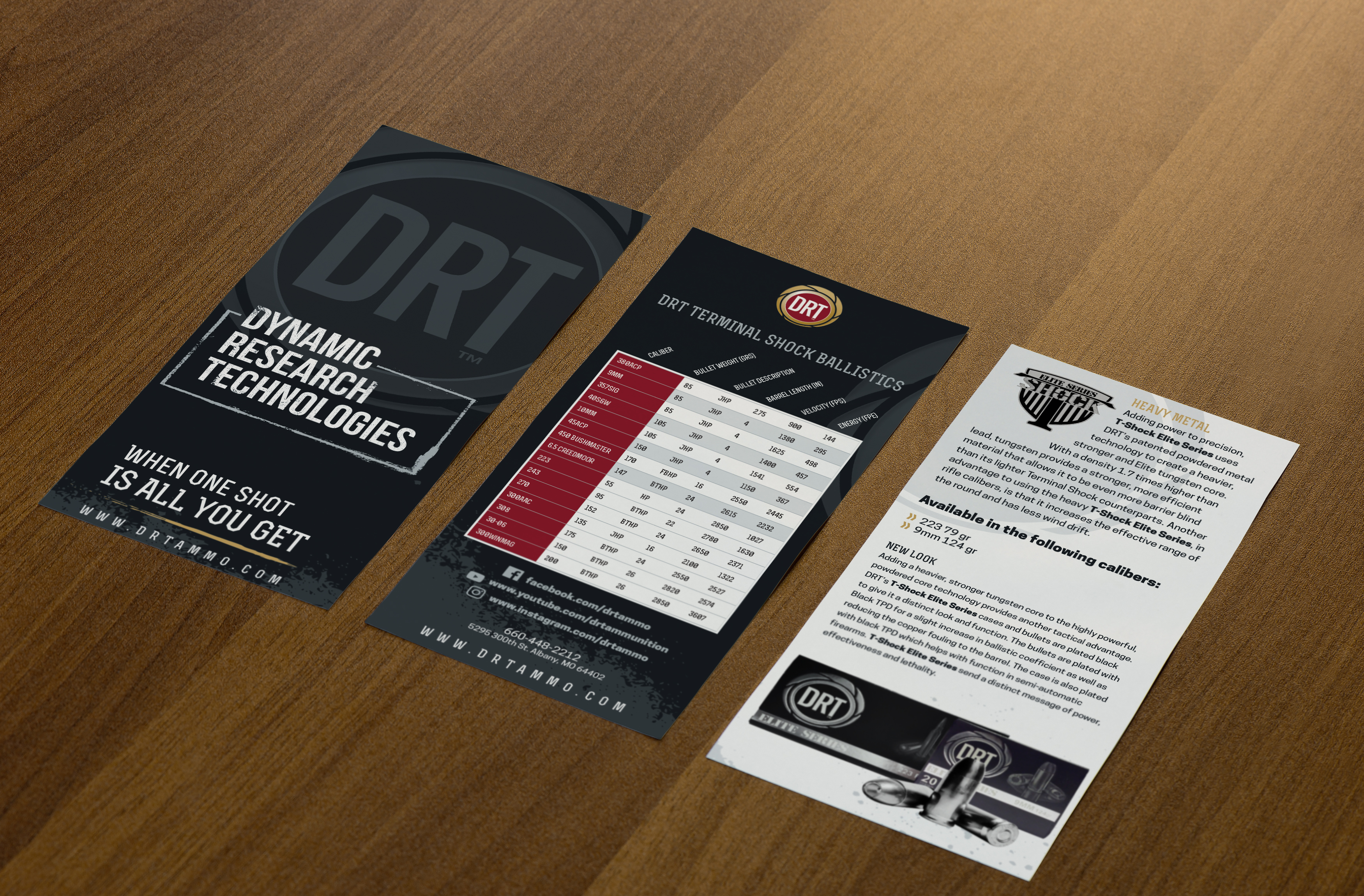 DRT ammunition tri-fold brochure: outside