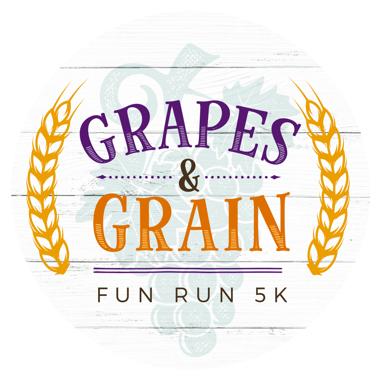 Grapes & Grain Fun Run 5k logo