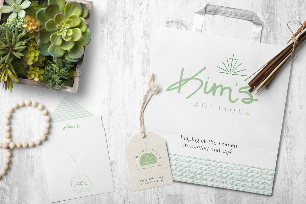 Kim's Boutique business card tag thank you card designed by Wildfire Creative