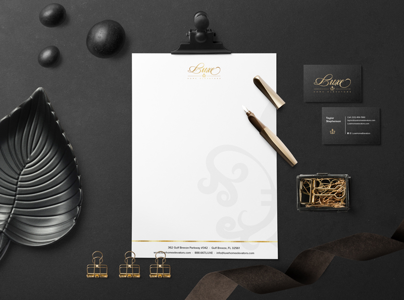 Luxe Home Elevators business card, letterhead designed by Wildfire Creative